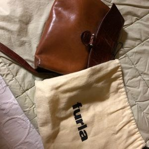 Furla brown leather cross body purse